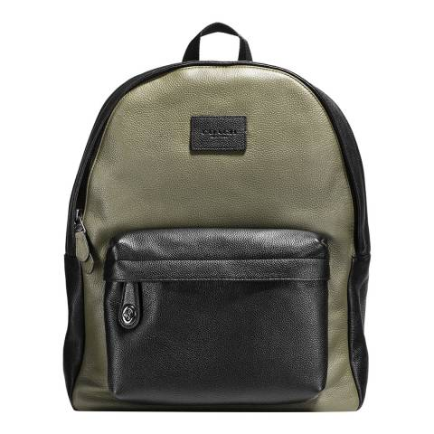 Coach Black / Khaki Refined Leather Colour- Block Campus Backpack