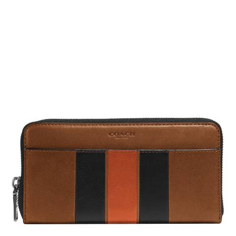 Coach Dark Saddle / Black Modern Varsity Stripe Accordion Wallet