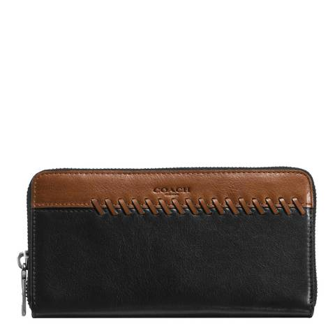 Coach Black / Saddle Rip And Repair Accordion Wallet