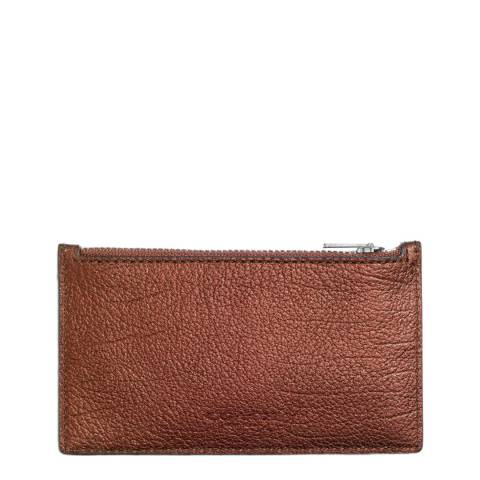 Coach Metallic Rust Leather Zip Card Case