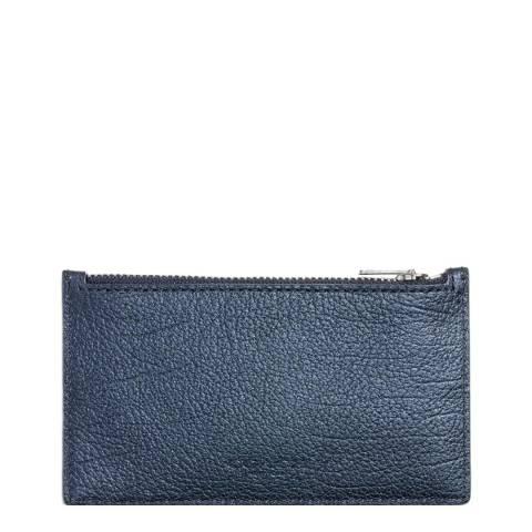 Coach Metallic Blue Leather Zip Card Case