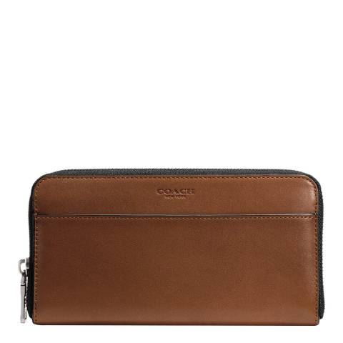 Coach Dark Saddle Sport Calf Accordion Wallet