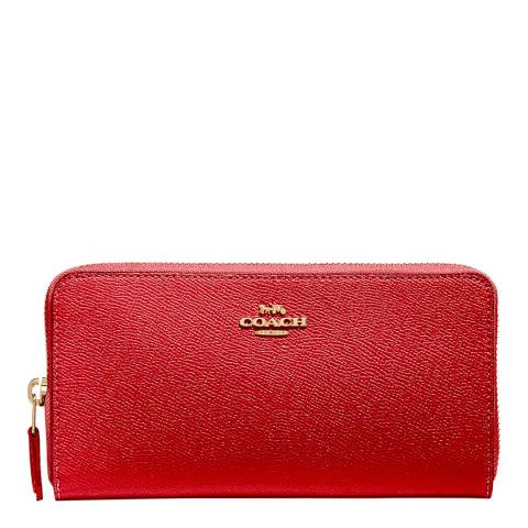 Coach Red Leather Accordion Zip Wallet