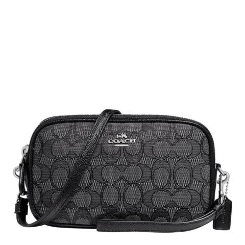 Coach Black Sadie Crossbody clutch in Monogram Jacquard