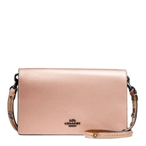 Coach Metallic Rose Fold over clutch