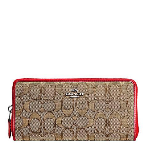 Coach Khaki/Red Slim Accordian Zip Wallet in Monogram Jacquard