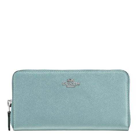 Coach Blue Crossgrain Leather Accordion Zip Wallet
