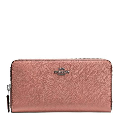 Coach Pale Pink Polished Pebble Leather Accordion Zip Wallet
