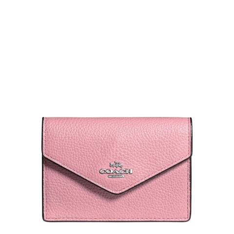 Coach Pink Polished Pebble Envelope Card Case