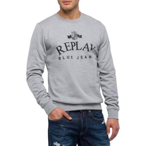 Replay Grey Crew Neck Emblem Sweatshirt