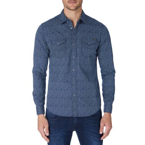 Replay Blue/White Floral Cotton Shirt