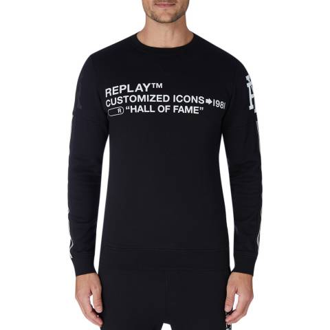 Replay Black Icons Logo Sweatshirt