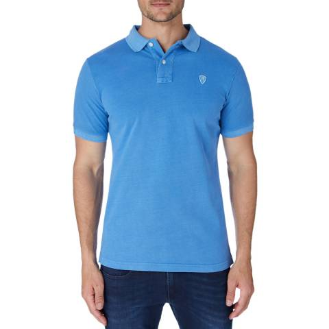 Replay Blue Vintage Wash Logo Polo Top