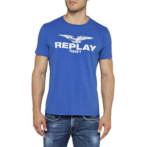 Replay Blue Vintage Logo T-Shirt