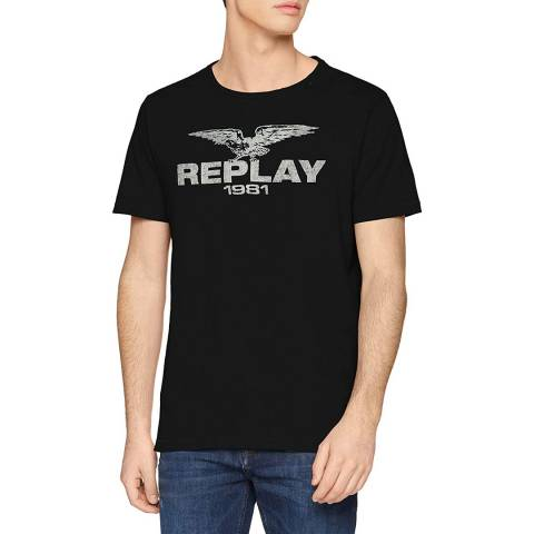 Replay Black Vintage Logo T-Shirt