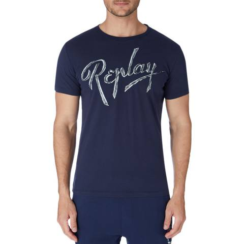 Replay Navy Embroidered Logo T-Shirt