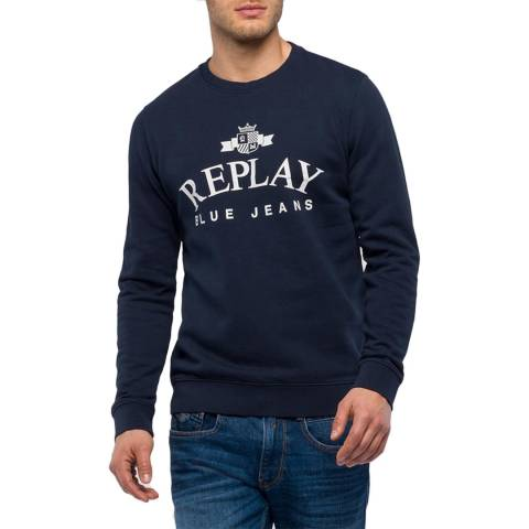 Replay Navy Crew Neck Emblem Sweatshirt