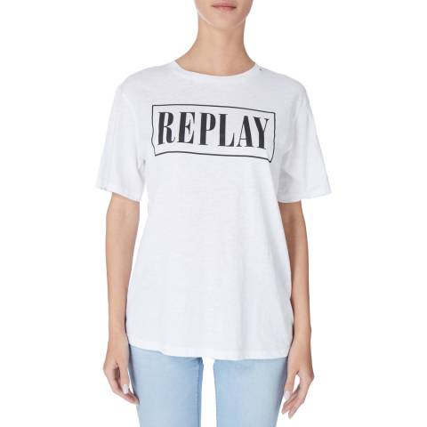 Replay White Square Logo Tee