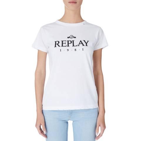 Replay White Logo Tshirt