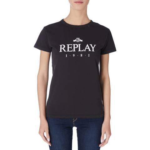 Replay Black Logo Tshirt
