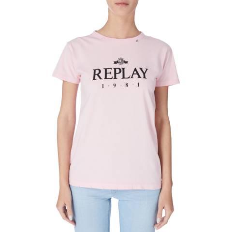 Replay Pink Logo Tshirt