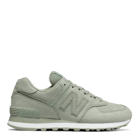 New Balance Mint Green Suede Snake 574 Sneakers