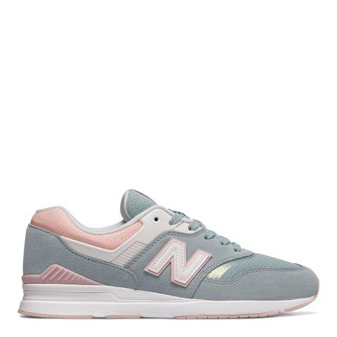 New Balance Blue/Pink Leather 697 Running Sneakers
