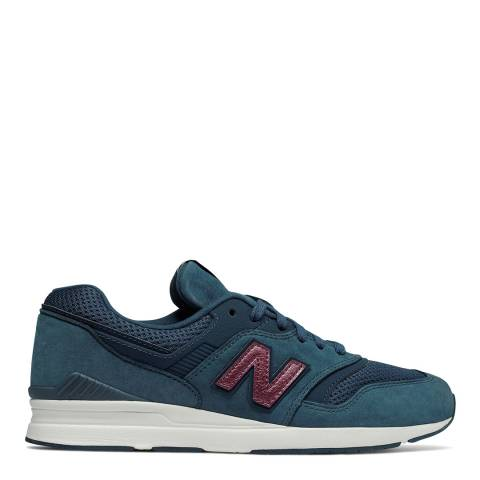 New Balance Navy Leather 697 Running Sneakers