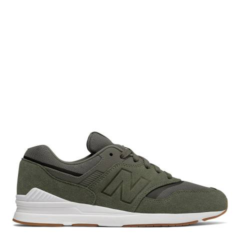 New Balance Green Suede 697 Retro Sneakers
