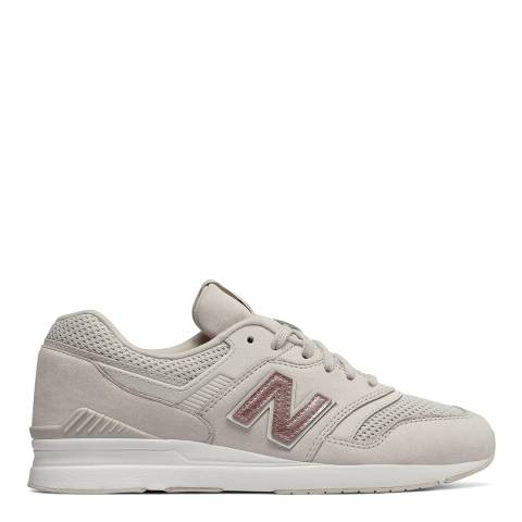 New Balance Cream/Pink Suede 697 Retro Sneakers