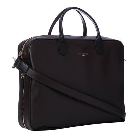 Longchamp Mocha & Black Graphic Leather Document Holder