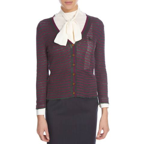 Vivienne Westwood Burgundy/Deep Green Cotton Blend Cardigan