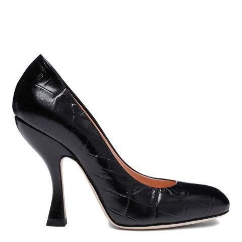 Vivienne Westwood Black Leather Croc Heeled Court Shoes