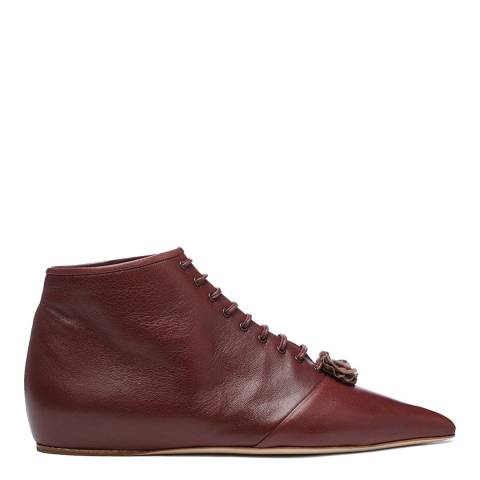 Vivienne Westwood Chocolate Brown Leather Laceup Rosette Boots