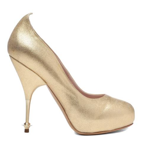 Vivienne Westwood Gold Leather Metallic Drama Court Heels