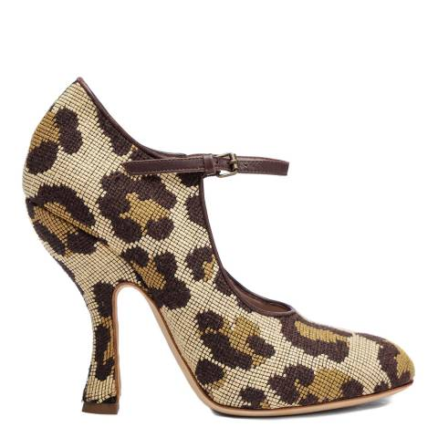 Vivienne Westwood Leopard Textured Olly Mary Jane Heeled Shoes
