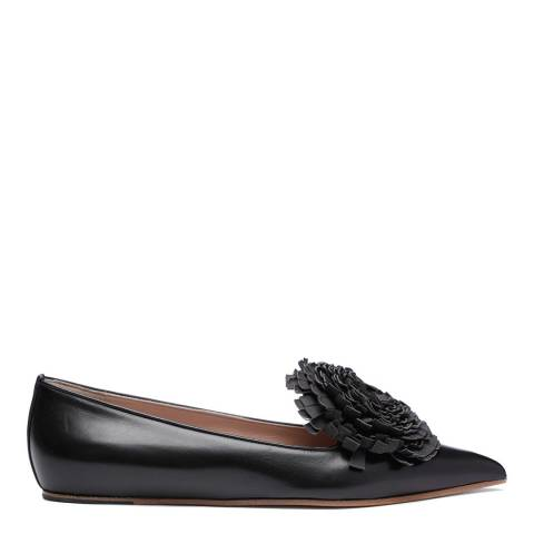 Vivienne Westwood Black Leather Flower Detail Ballerina Shoes