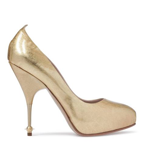 Vivienne Westwood Gold Leather Volupta Heeled Court Shoes