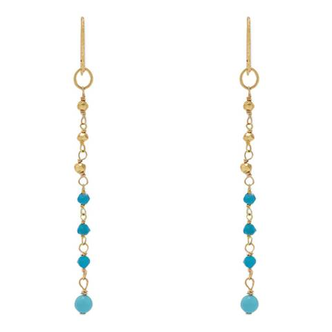 Liv Oliver 18K Gold Turquoise Linear Earrings