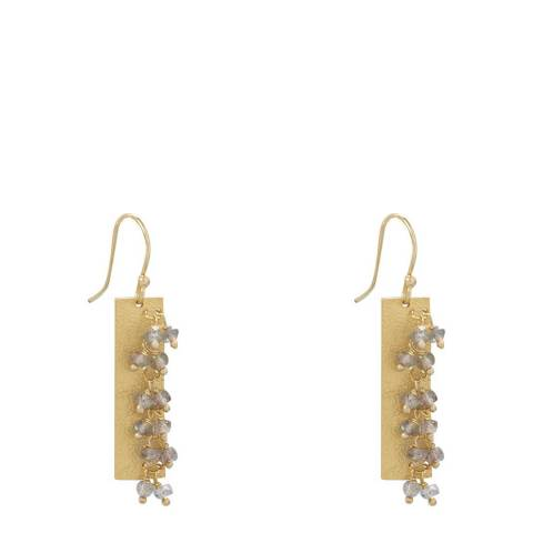 Liv Oliver Gold Larbradorite Drop Earrings