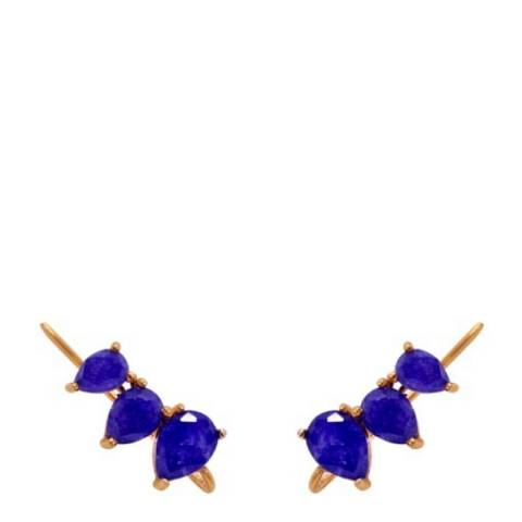 Liv Oliver 8K Gold Sapphire Multi Pear Earrings