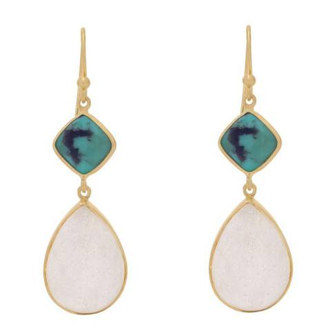 Liv Oliver 18k Gold Turquoise and White Druzy Earrings
