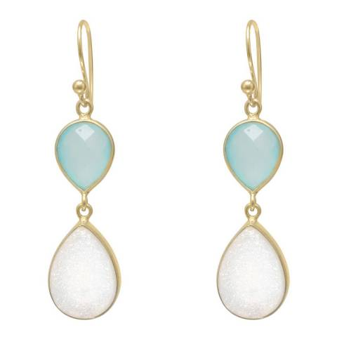 Liv Oliver 18k Gold Double Pear Chalcedony and Druzy Earrings