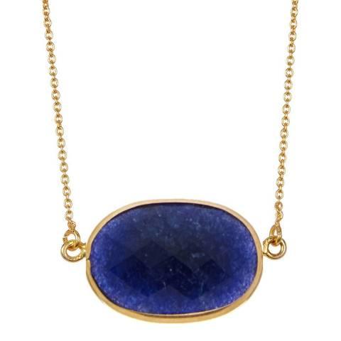 Liv Oliver 18K Sapphire Oval Pendant Necklace