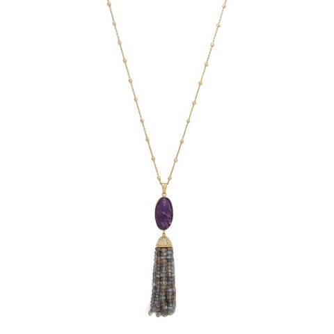 Liv Oliver 18K Gold Amethyst and Labradorite Tassel Necklace