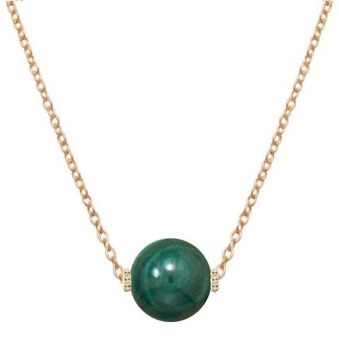 Liv Oliver Gold Malachite Embellished Solitaire Necklace