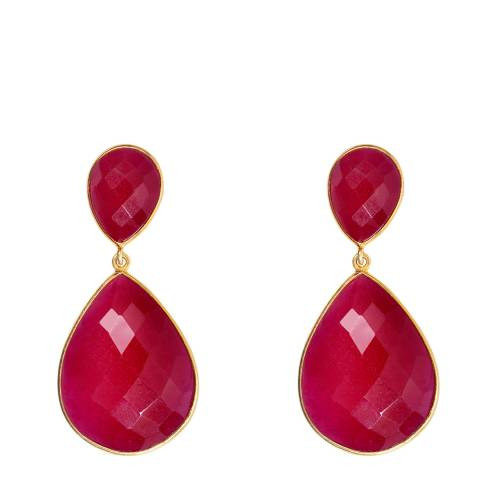 Liv Oliver 18k Gold Ruby Double Pear Drop Earrings