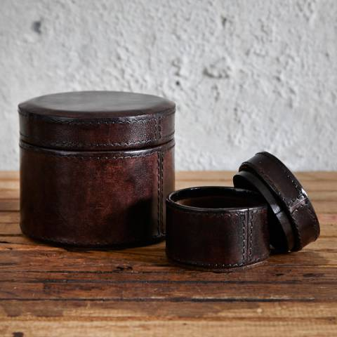 Life of Riley Dark Brown Round Leather Watch Box