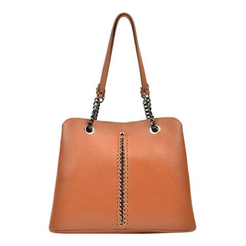Luisa Vannini Cognac Top Handle Bag