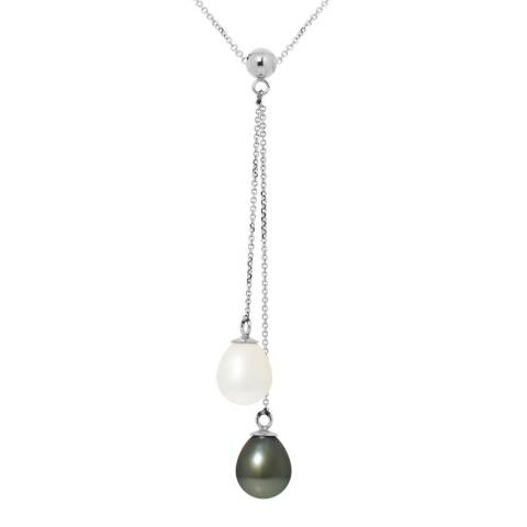 Ateliers Saint Germain Black / White You And Me Tahiti Drop Pearl Necklace 7-8mm
